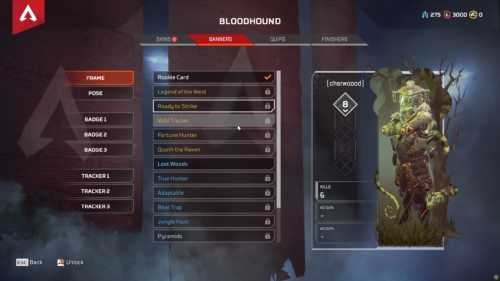 Banners screenshot of Apex Legends video game interface.