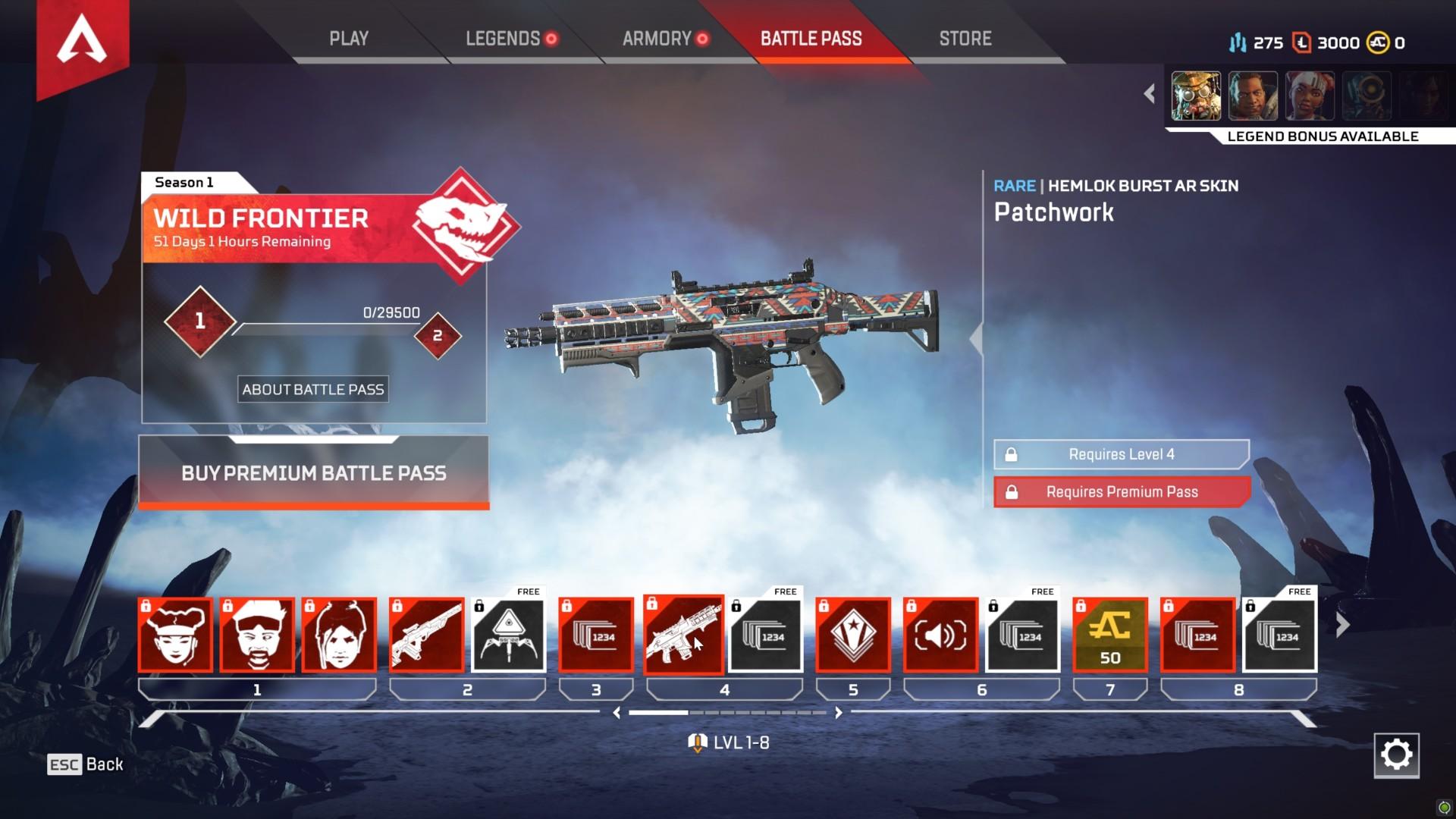 Battle pass screenshot of Apex Legends video game interface.