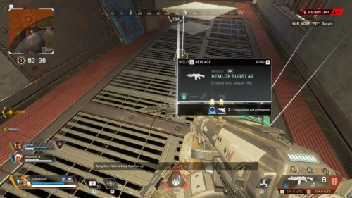 Replace weapon screenshot of Apex Legends video game interface.