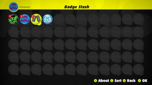 Badge stash screenshot of ARMS video game interface.