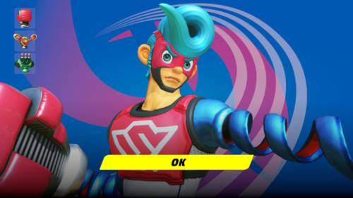 Character select screenshot of ARMS video game interface.