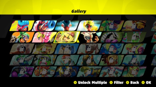Gallery screenshot of ARMS video game interface.