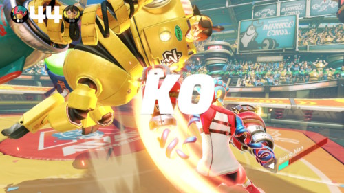 KO screenshot of ARMS video game interface.