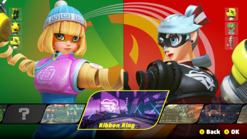 Level selection screenshot of ARMS video game interface.