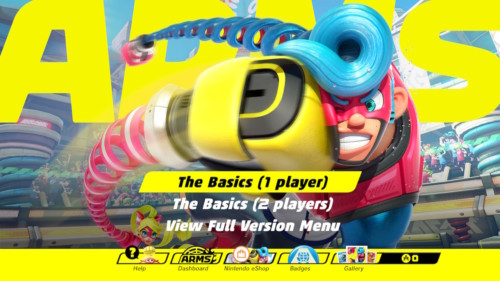 Main menu screenshot of ARMS video game interface.