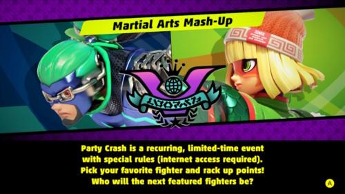 Martial arts mash-up screenshot of ARMS video game interface.