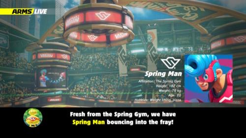 Match presentation screenshot of ARMS video game interface.