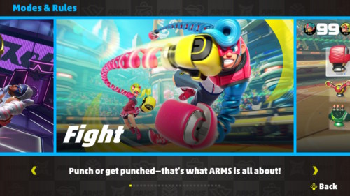 Modes and rules screenshot of ARMS video game interface.