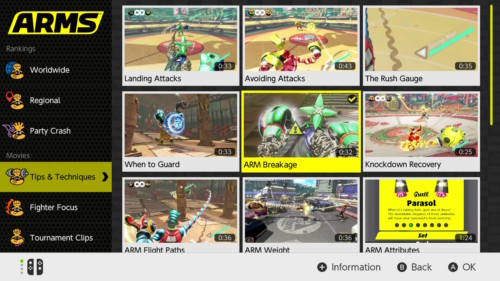 Movies screenshot of ARMS video game interface.
