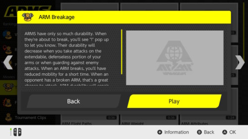 News screenshot of ARMS video game interface.