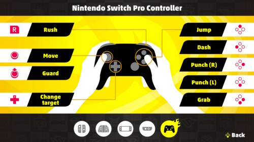 Nintendo Switch Pro Controller screenshot of ARMS video game interface.
