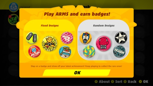 Play Arms and earn badges screenshot of ARMS video game interface.
