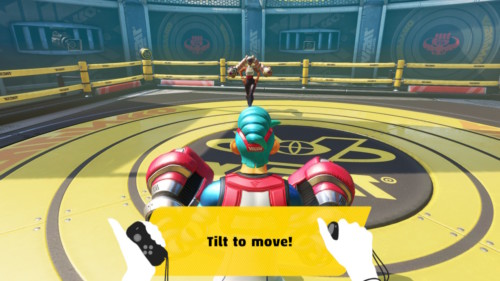 Tilt to move screenshot of ARMS video game interface.