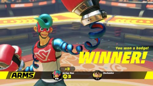 Winner screenshot of ARMS video game interface.