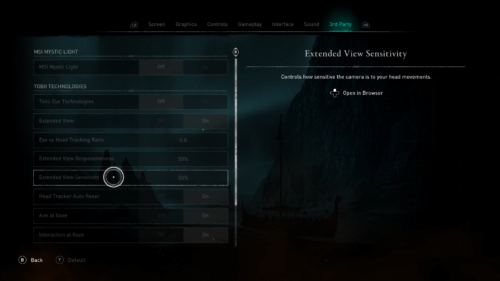 3rd Party screenshot of Assassin's Creed Valhalla video game interface.