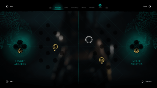 Abilities screenshot of Assassin's Creed Valhalla video game interface.