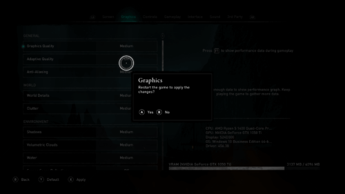 Apply the changes screenshot of Assassin's Creed Valhalla video game interface.