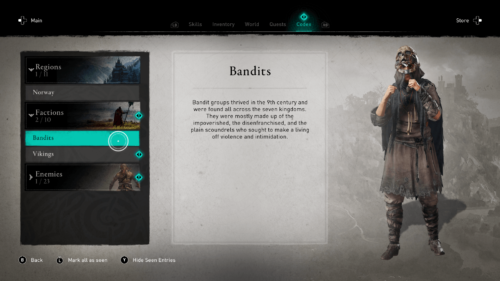 Bandits codex screenshot of Assassin's Creed Valhalla video game interface.
