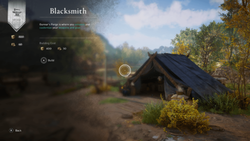 Build blacksmith screenshot of Assassin's Creed Valhalla video game interface.