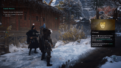 Charisma screenshot of Assassin's Creed Valhalla video game interface.
