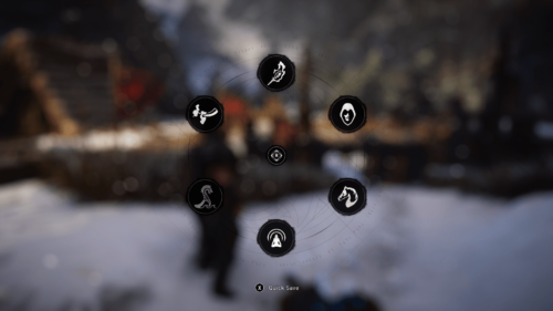 Circle menu screenshot of Assassin's Creed Valhalla video game interface.