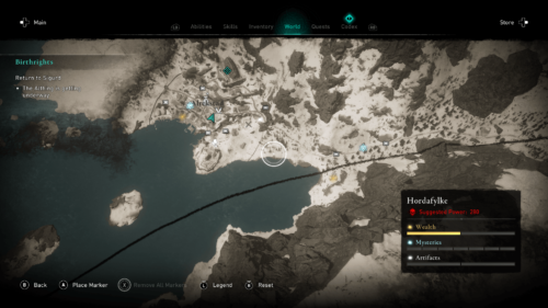 City screenshot of Assassin's Creed Valhalla video game interface.