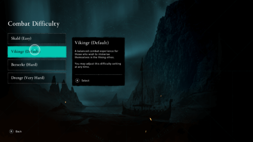 Combat difficulty screenshot of Assassin's Creed Valhalla video game interface.