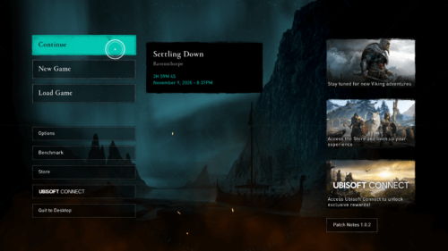 Continue game screenshot of Assassin's Creed Valhalla video game interface.