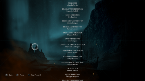 Credits screenshot of Assassin's Creed Valhalla video game interface.