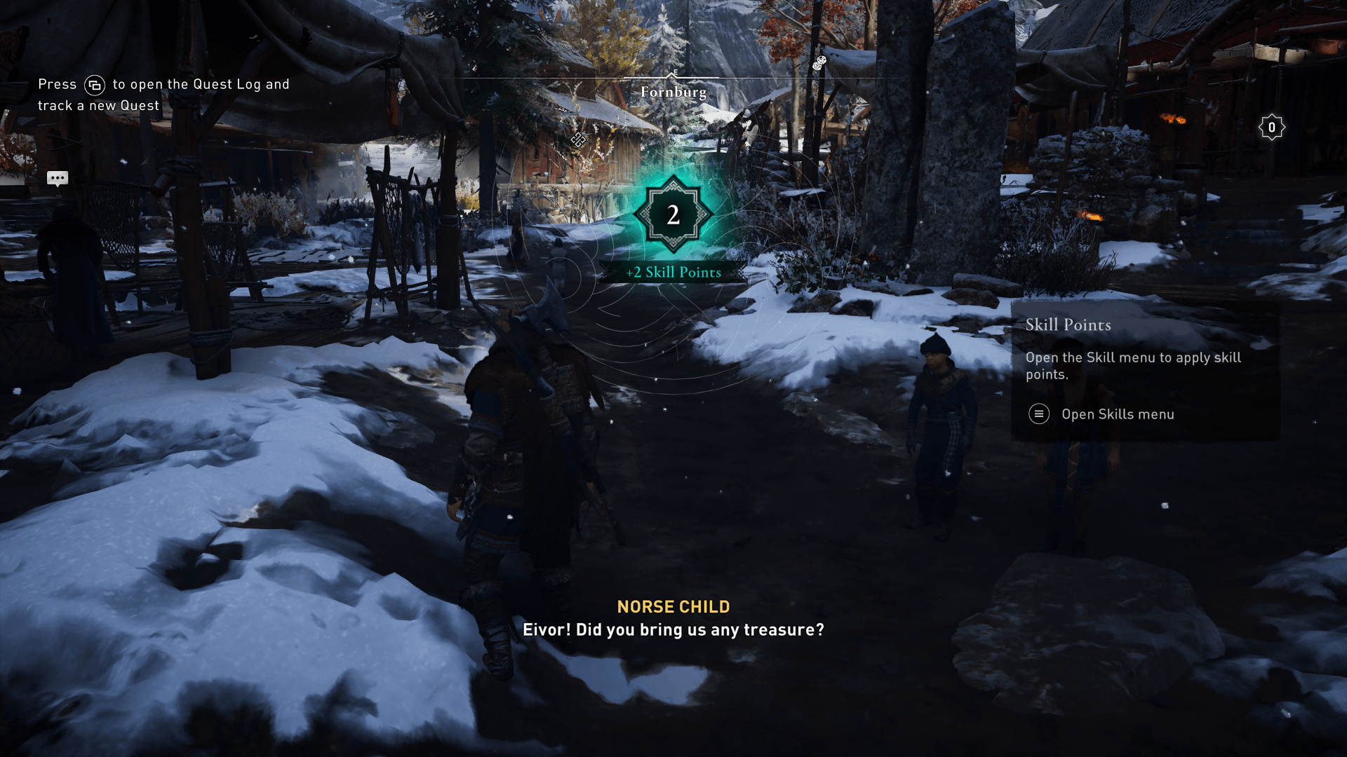 Gain skill points screenshot of Assassin's Creed Valhalla video game interface.