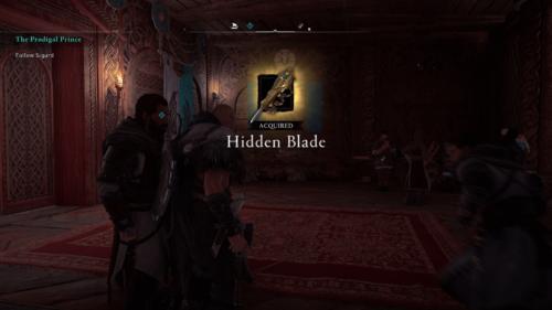Hidden blade screenshot of Assassin's Creed Valhalla video game interface.