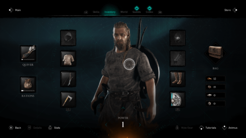 Inventory screenshot of Assassin's Creed Valhalla video game interface.