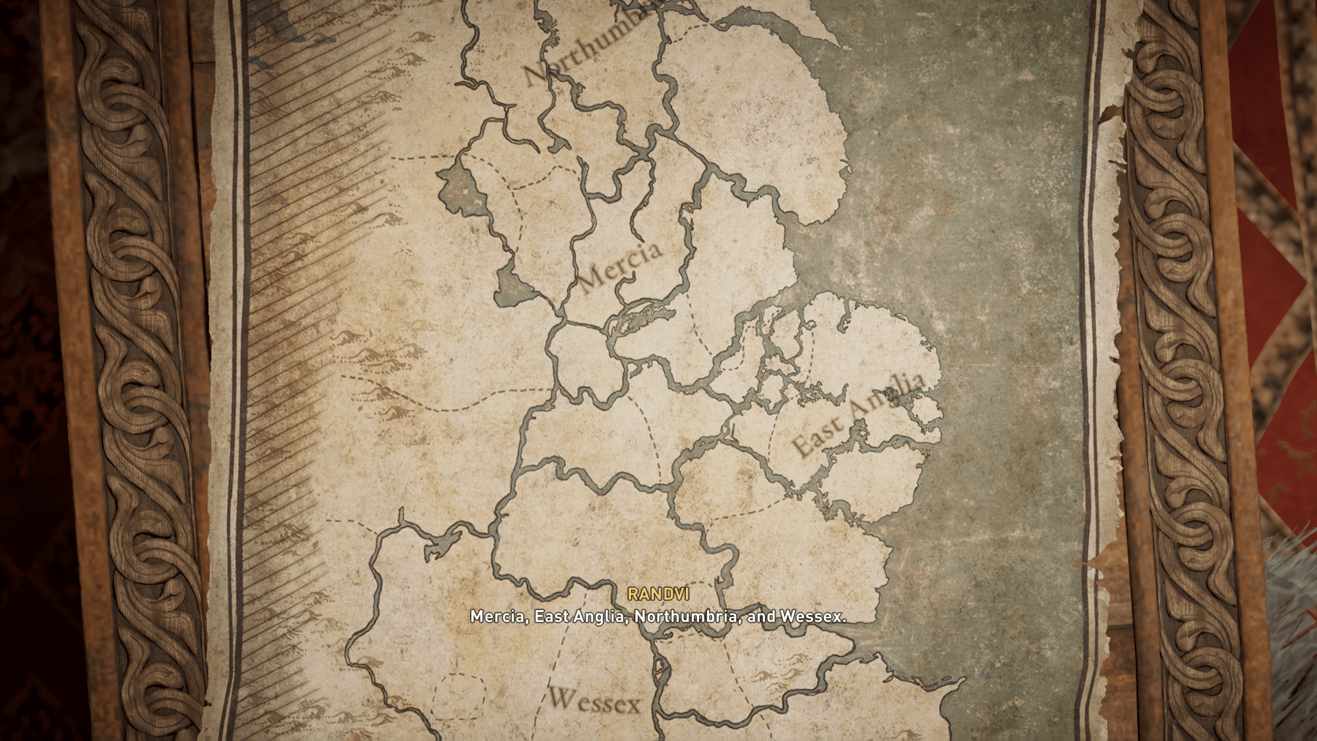 Map screenshot of Assassin's Creed Valhalla video game interface.
