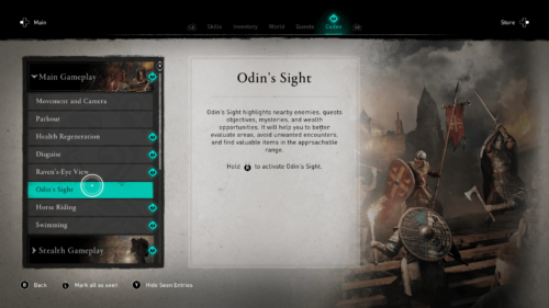 Odin's Sight codex screenshot of Assassin's Creed Valhalla video game interface.