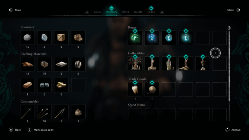 Resources screenshot of Assassin's Creed Valhalla video game interface.