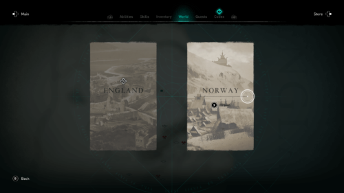 Select world screenshot of Assassin's Creed Valhalla video game interface.