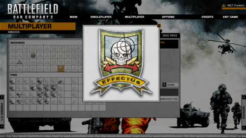 Awards zoom screenshot of Battlefield: Bad Company 2 video game interface.