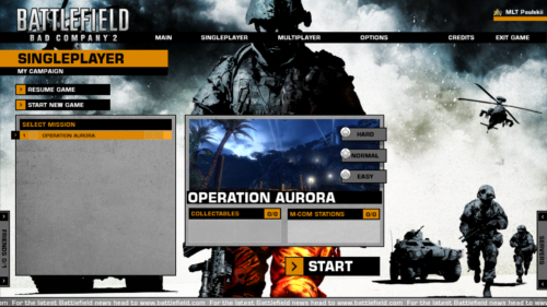 Campaign screenshot of Battlefield: Bad Company 2 video game interface.