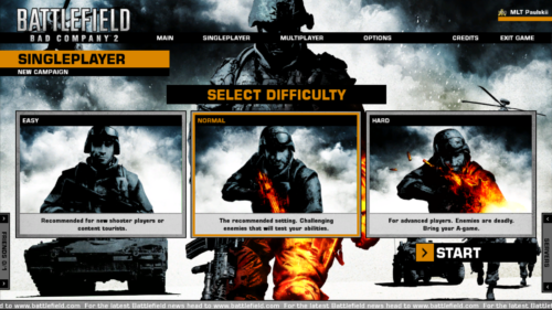 Campaign difficulty screenshot of Battlefield: Bad Company 2 video game interface.