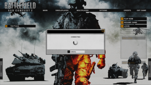 Connecting screenshot of Battlefield: Bad Company 2 video game interface.