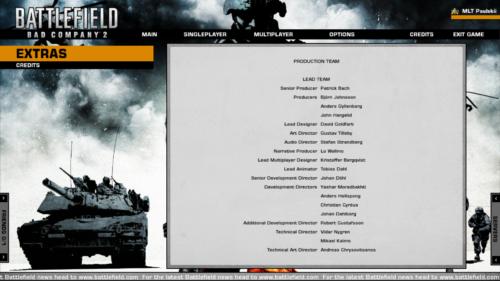 Credits screenshot of Battlefield: Bad Company 2 video game interface.