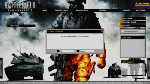 Exit game screenshot of Battlefield: Bad Company 2 video game interface.