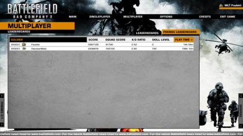 Friends leaderboard screenshot of Battlefield: Bad Company 2 video game interface.