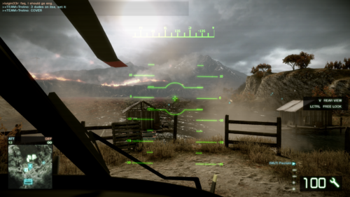 Helicopter HUD screenshot of Battlefield: Bad Company 2 video game interface.