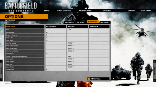 In vehicle screenshot of Battlefield: Bad Company 2 video game interface.