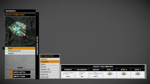 Kit selection screenshot of Battlefield: Bad Company 2 video game interface.