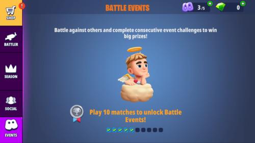 Battle events screenshot of Battlelands Royale video game interface.