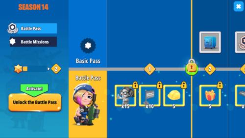 Battle Pass screenshot of Battlelands Royale video game interface.