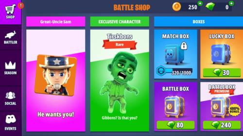 Battle Shop screenshot of Battlelands Royale video game interface.