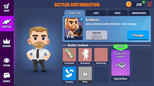 Battler customization screenshot of Battlelands Royale video game interface.
